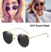 Espelho Estilo óculos de Sol Das Mulheres Dos Homens marca de luxo 3447 De Metal Redondo Retro Do Vintage Design Da Marca Óculos de Sol Oculos de sol