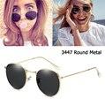 Роскошный бренд 3447 круглые металлические стильные зеркальные солнцезащитные очки для мужчин и женщин винтажные Ретро брендовые дизайнерс...
