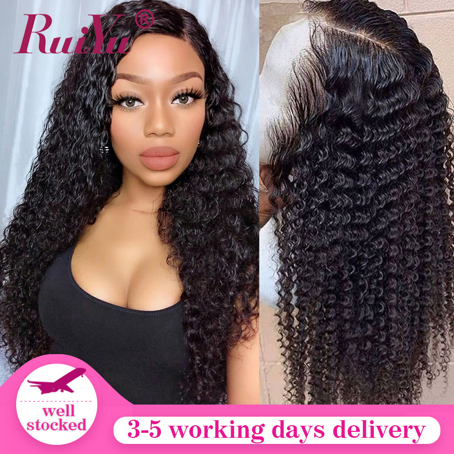 Transparent Lace Wigs 13x6 Lace Front Human Hair Wigs 180% Density Curly Human Hair Wig Pre Plucked RUIYU Remy Lace Wigs