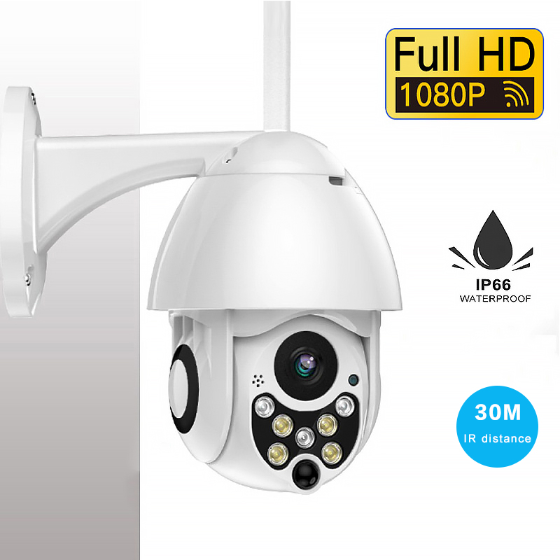 1080P Waterproof Outdoor PTZ IP Camera Wifi Speed Dome Wireless Wifi Security Camera 4X Digital Zoom Two Way Audio Camera