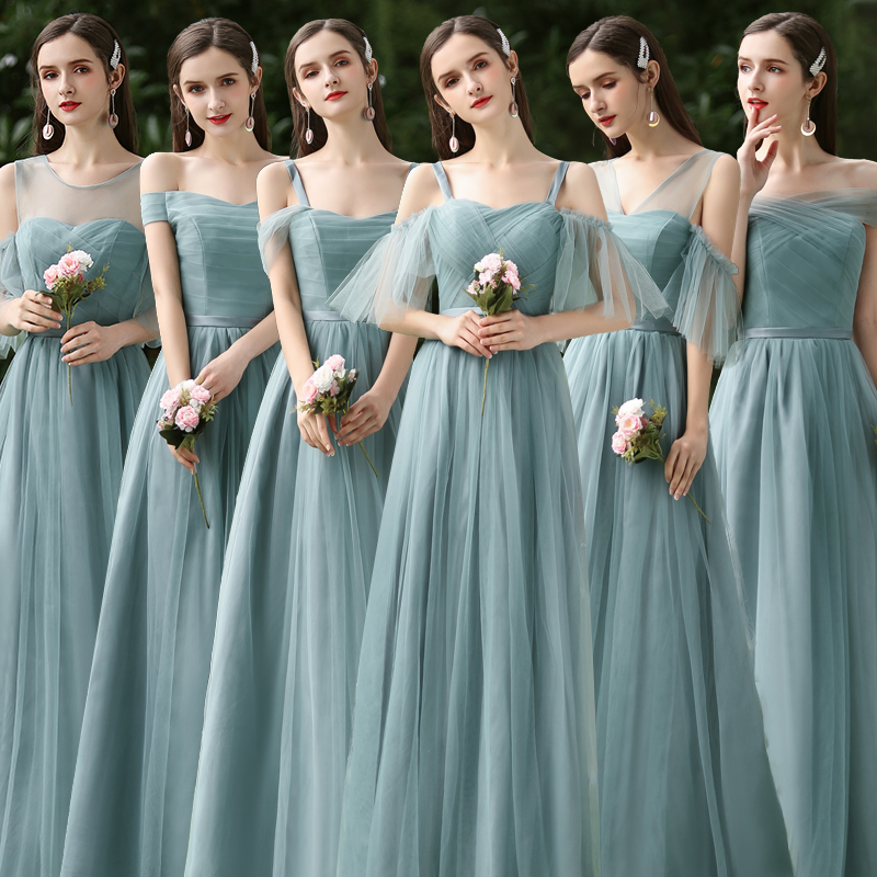 Forest Green Tulle Bridesmaids Dresses Elegant Vestido Long Dresses For Wedding Party A-Line Special Occasion Dresses Sexy Prom