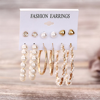 IF ME Fashion Vintage Gold Pearl Round Circle Drop Earrings Set For Women Girl Large Acrylic Tortoise shell Dangle Ear Jewelry 1