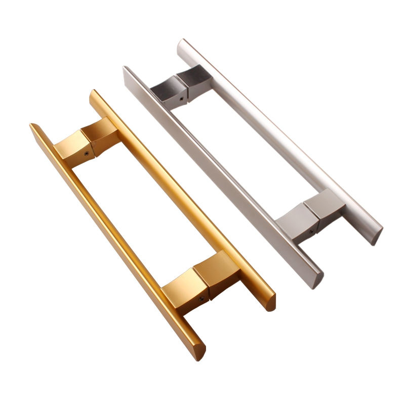 Aluminum Alloy Square Tube Shower Room Glass Door Handle Double Side Bathroom Pull Sliding Door Handle Trapezoid Back-to-Back