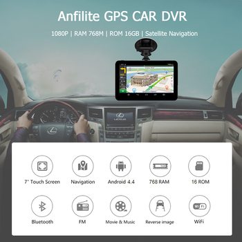 Anfilite H55 7 inch Capacitive Android car GPS Navigator Quad Core 16GB car DVR dash cam dual cameras 1080P record free maps