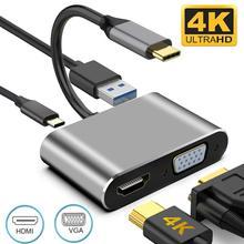 4 ב 1 Usb C Mac 3.1 ממיר מתאם 8W סוג C כדי HDMI תואם/USB 3.0/סוג C אלומיניום עבור Apple Macbook מתאם