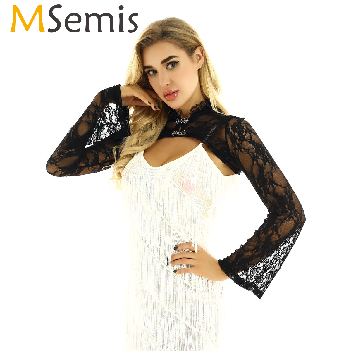 MSemis Women Arms Sleeves Vintage Stand Collar Raglan Long Flared Sleeves See Through Sheer Lace Crop Top Form Fitting Shrugs