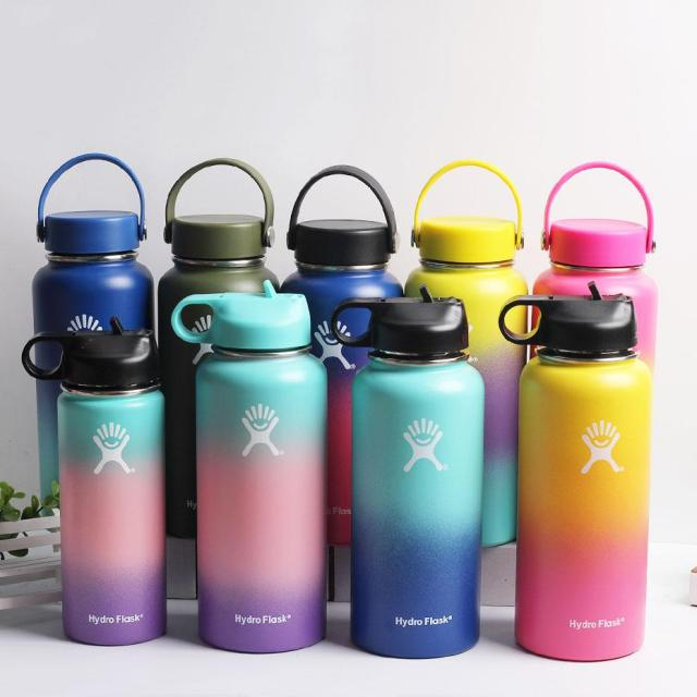 2020 New Hydro Flask Water Bottle with Straw Hydroflask Stainless Steel Water Bottles 18/32oz Outdoors Sports Drink Bottle 1