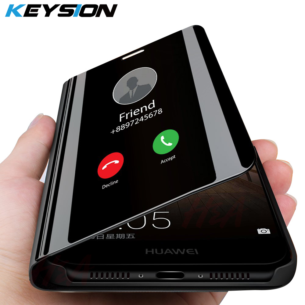 KEYSION Clear View Smart Mirror <font><b>Flip</b></font> <font><b>Case</b></font> for <font><b>Huawei</b></font> <font><b>Mate</b></font> <font><b>20</b></font> 10 P30 Pro P20 <font><b>Lite</b></font> Protective Cover Fundas Capa for P10 P9 Mate9 8 image