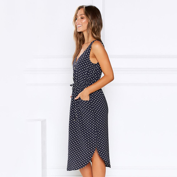 women dot printed causal dress 2020 summer sleeveless v neck with buttons pockets high waist casual office ladies vestidos mujer 2