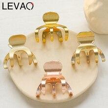 Levao геометрический коготь для волос для женщин девочек сплав Три зубы зажимы для волос Краб Металл золото заколки для волос аксессуары заколки для волос