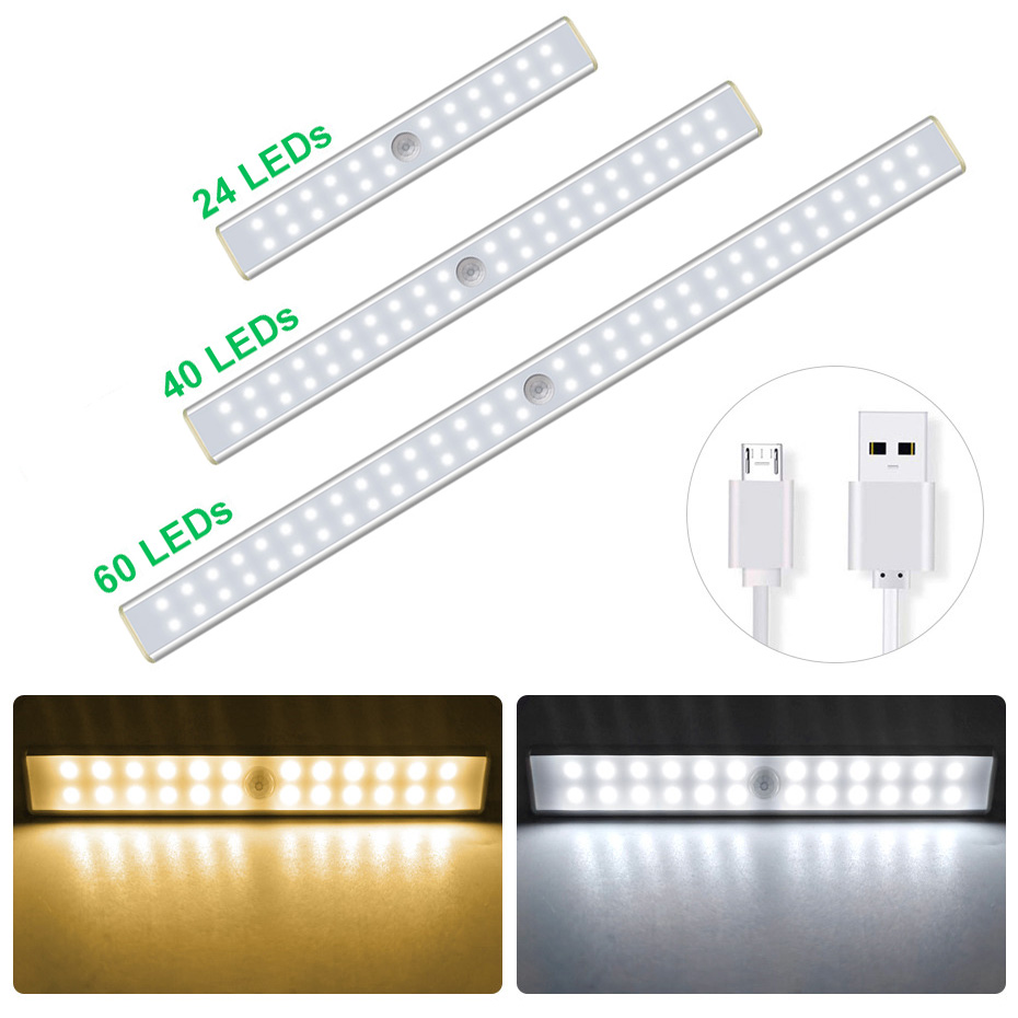 USB Rechargeable Sensor Cabinet Light 24 40 60 LED Motion Sensor  Lights Magnetic Wireless Lamp For Closet Wardrobe Kitchen