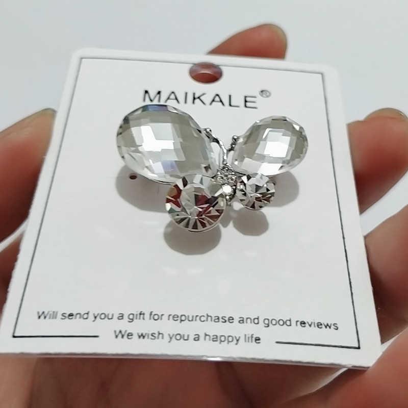 Женская брошка в виде бабочки MAIKALE, брошки в виде насекомых с блестящими черными и белыми кристаллами и булавками, элегантные аксессуары для подарка