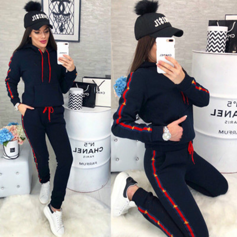 2019 New Casual Suit Women Sport Suits Fashion Printed Running Sets Sweat Pants Female Jogging Suit Tracksuit Hooded Sweatshirt