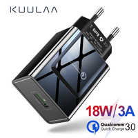 KUULAA Charge rapide 3.0 chargeur 18W QC 3.0 Charge rapide téléphone USB chargeur adaptateur EU prise murale Charge pour Xiaomi iPhone Samsung