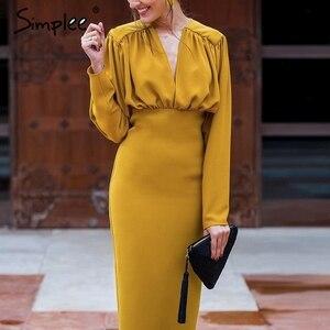 Image 3 - Simpleeエレガントなvネックボディコン秋のドレスの女性バットウィングスリーブオフィスレディパーティードレスハイウエストスリム女性のレトロなドレス