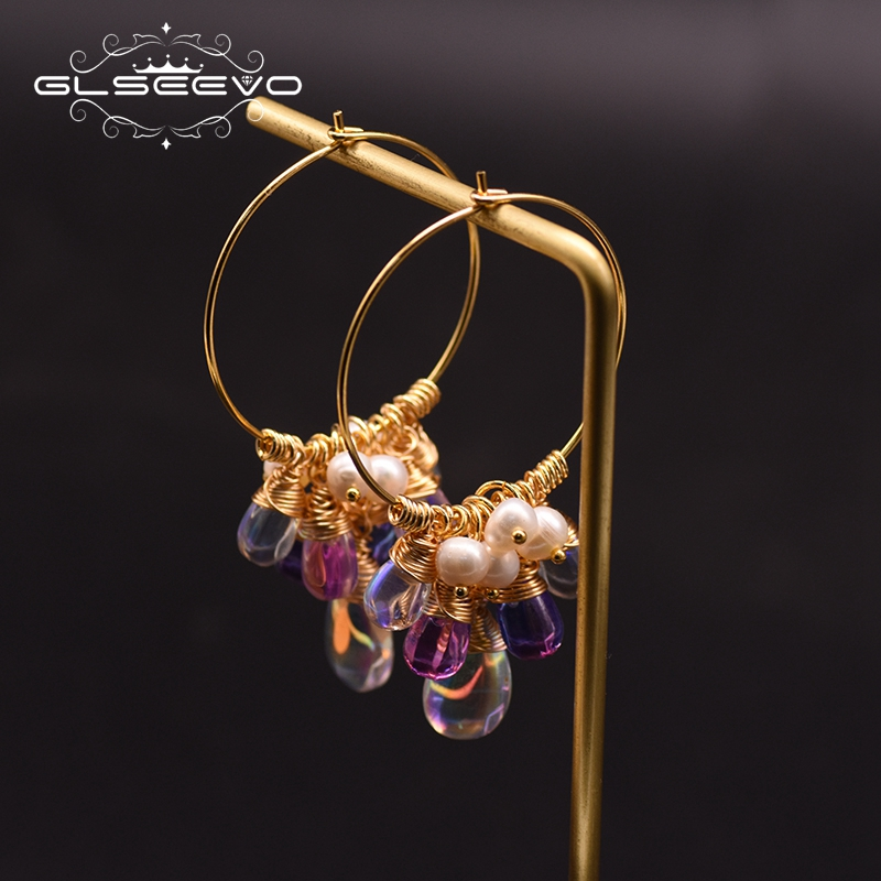 GLSEEVO Original Design Hoop Earrings For Women 925 Sterling Silver Fresh Water Pearl Colorful Tassel Earrings GE0904