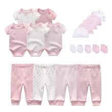 Moda bebê bodysuits + crianças calças chapéus crianças luvas do bebê meninas roupas de algodão conjuntos