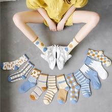 2021 neue frauen Socken Britischen Plaid Gestreiften Socken Frühling Sommer Komfortable Patchwork Farbe Retro Lange Socken Damen Qualität