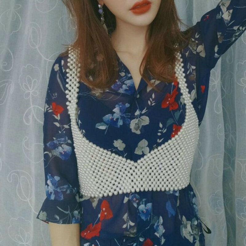 Chic Women Crochet Pearl Vests Bralette Bra Lingerie Look Short Tanks Pearls Beading Crop Top Beautiful Lady Beaded Strappy Cami