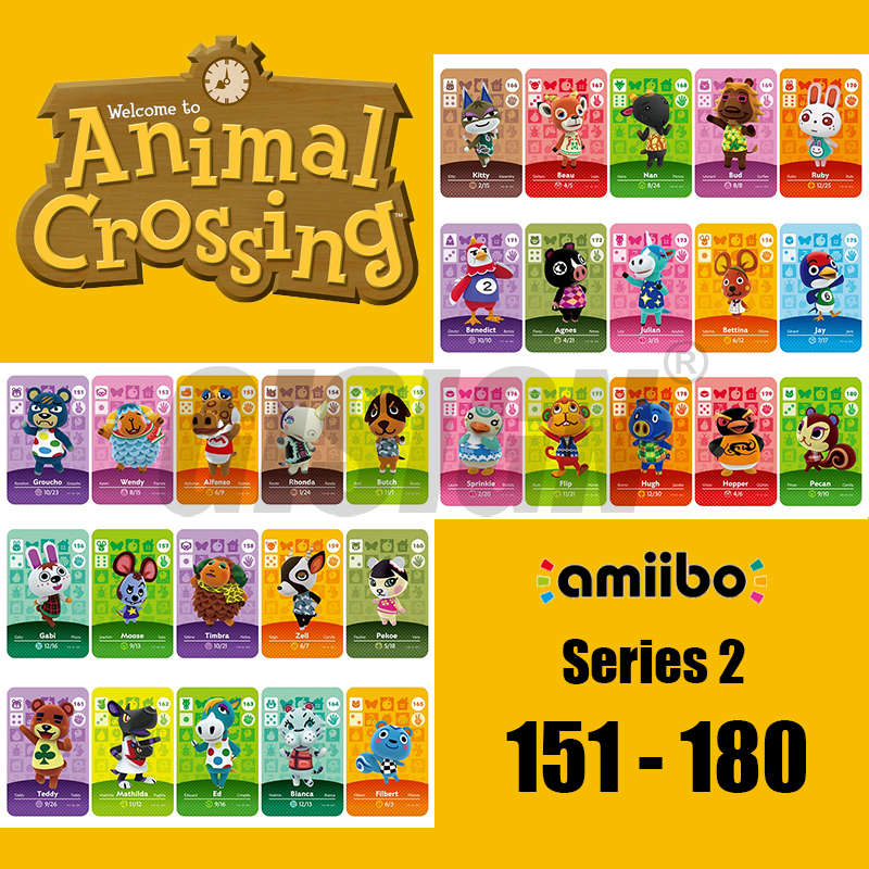New Horizons Amiibo Animal Crossing Card For NS Switch 3DS Game Marshal Card Set NFC Cards Series 2 (151 To 180) 173 Julian