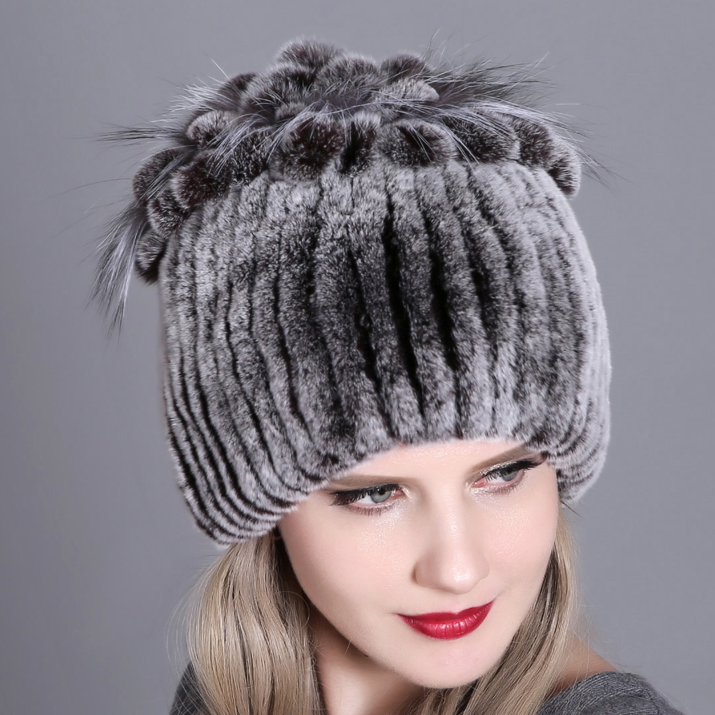 2020 Women Fur Hat For Winter Natural Rex Rabbit Fox Fur Cap Russian Female Fur Headgear 2020 Brand New Fashion Warm Beanies Cap