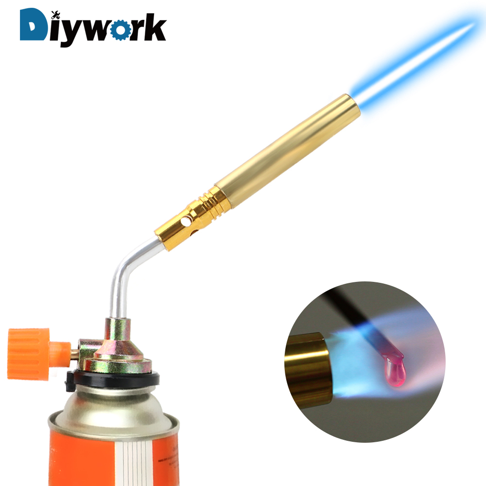 DIYWORK Portable Flamethrower Burner  Hand Ignition  Flame Gun Welding Torch Camping Welding BBQ Tool Butane Gas Blow Torch