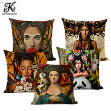 Popular Decorative Cushion Cover Portrait Oil Painting Pillow 45*45cm Gallery Sofa Chair