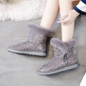Image 3 - SWYIVY kar botları kadın 2019 yeni kış kürk ayakkabı pamuk yastıklı sıcak yarım çizmeler kadın yan fermuar kış rahat çizme Snowboots