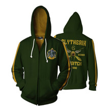 Harri Slytherin Mens Women Full Zip Hoodies P 3D Sweatshirts Pullover Trackusits Casual Up Jacket
