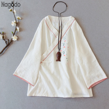 Nagodo chińska koszula Hanfu 2020 wiosna bawełniana pościel na lato herbata Zen chiński płaszcz sweter w stylu Vintage kobiety tradycyjna bluzka Top tanie i dobre opinie COTTON Topy WOMEN Czesankowej Chinese Shirt