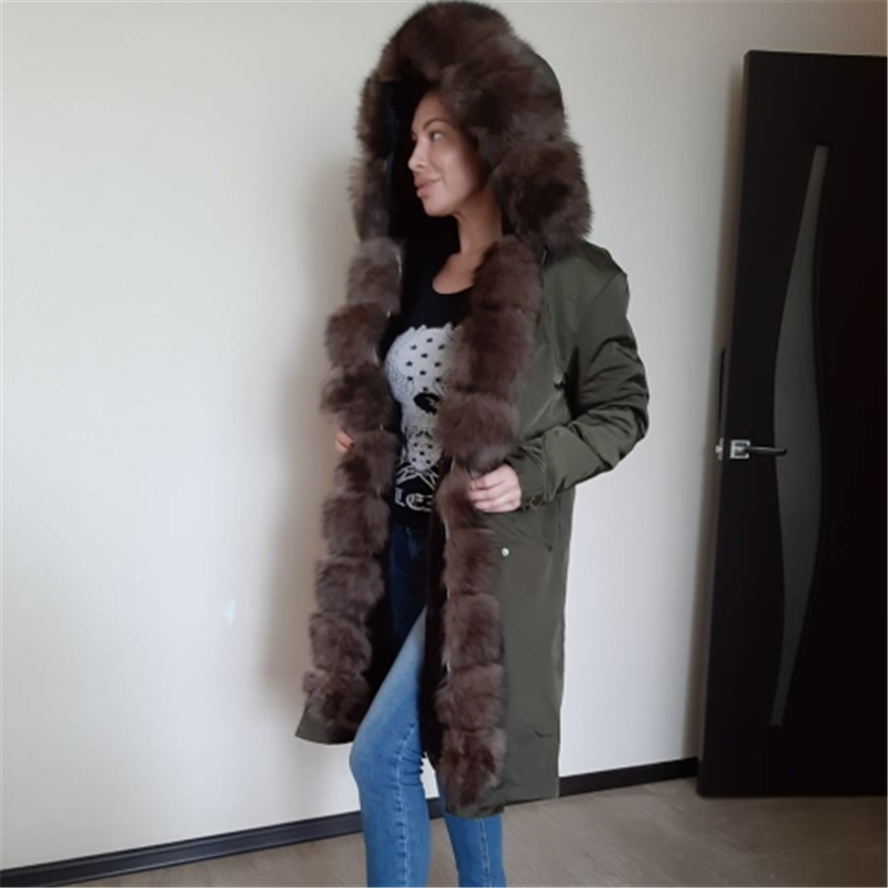 OFTBUY Waterproof Real Fur Coat X-long Parka Winter Jacket Women Natural Fox Fur Collar Hood Thick Warm Outerwear Detachable New