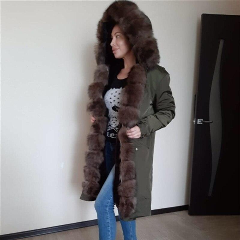 OFTBUY manteau de fourrure véritable imperméable x-long Parka veste d'hiver femmes naturel fourrure de renard col capuche épais chaud vêtements d'extérieur détachable nouveau