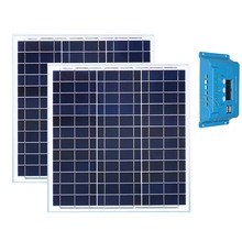 Portable Solar Kit 80w 2 Pcs Panel 40w 12v Battery PWM Controller 12v/24v 10A Home Caravans Monocrystalline Waterproof