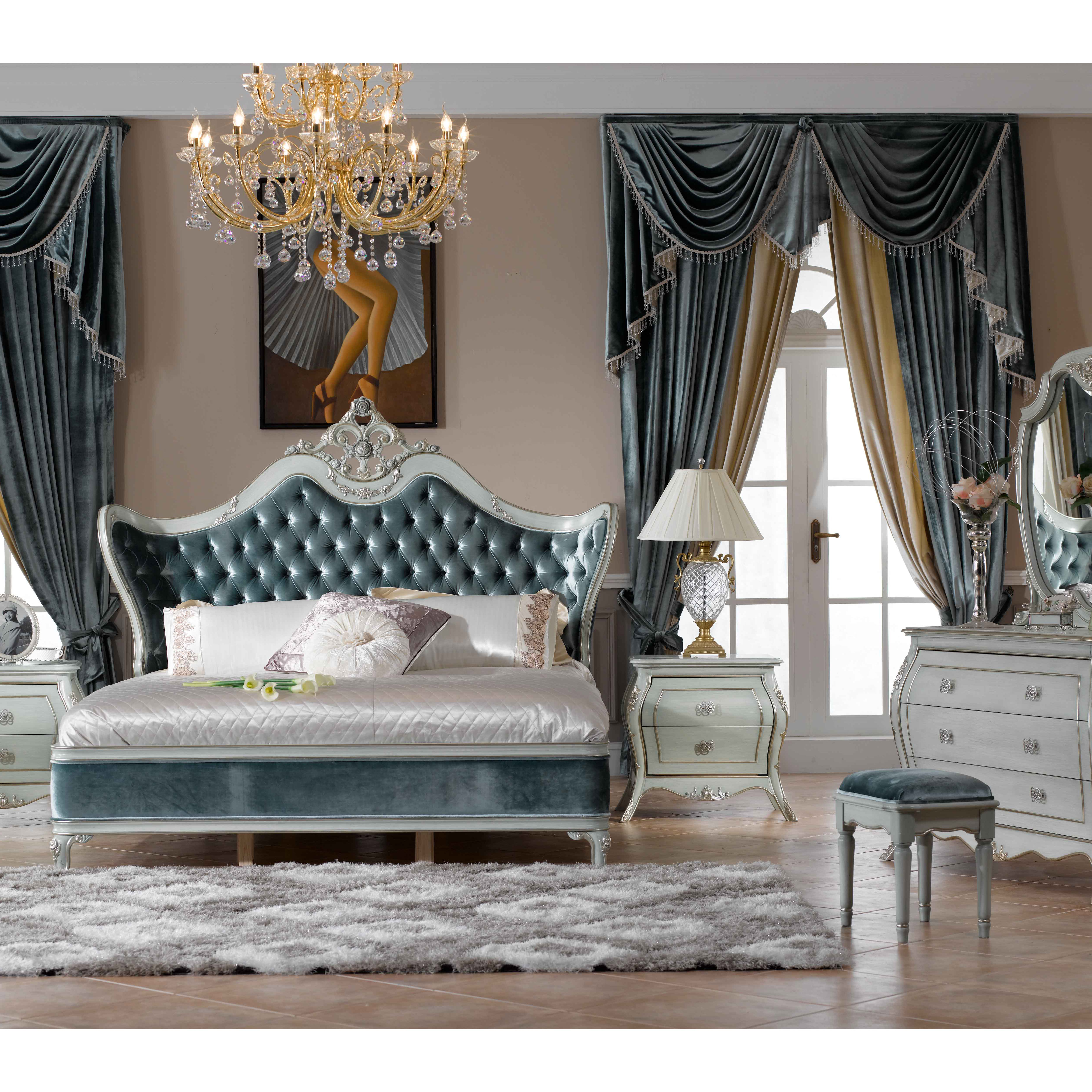 US $1168.0 |Italy style European classical white and king size bedroom  furniture set 0402 713-in Bedroom Sets from Furniture on AliExpress