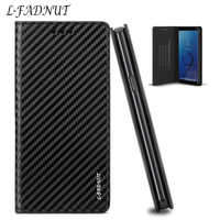 L-FADNUT Carbon Fiber Flip Leather Case For Samsung Galaxy A51 A71 J5 2017 J3 J4 J6 Wallet Cover For Samsung A7 2018 A3 A5 A6 A8