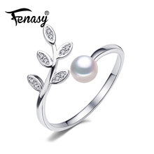 FENASY Natural Freshwater Pearl Rings New Fashion Bohemian Cute Leaf Zircon Party Adjustable Rings For Women Wholesale(China)