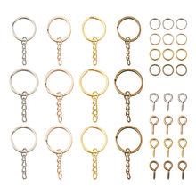 360pcs/set Iron Split Key Rings Close but Unsoldered Jump Rings Screw Eye Pin Peg Bails Mixed Color DIY Keychain Making Kits