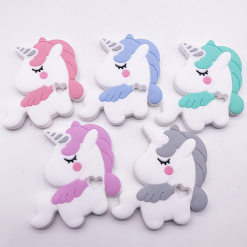 1pcs Unicorn Baby Silicone Teether BPA Free Teething Rodent Pendant For Kids Dental Teeth Care Products Infant Toy Gift фото