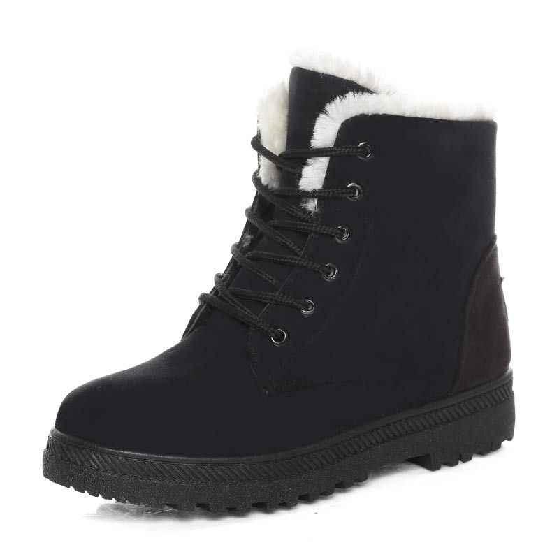 Kadın botları sıcak kar botları 2019 topuklu kışlık botlar kadın kürk peluş astarı yarım çizmeler kadın ayakkabı kış sıcak Botas mujer
