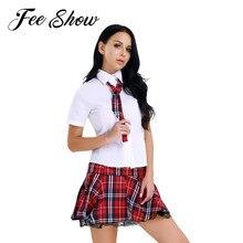 Donne Sexy Lingerie Erotica Giapponese Studentessa gioco di Ruolo Costume Ragazze della Scuola Uniforme Camicia e Mini Gonna Cravatta Halloween Cosplay