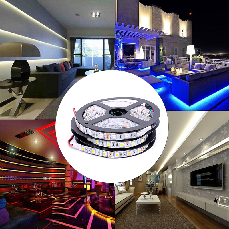 5M/Pack 2835 SMD More Brighter Than 3528 5050 SMD LED Strip Light DC 12V 60LEDs/M Indoor Decorative Tape RGB Warm White Blue Red