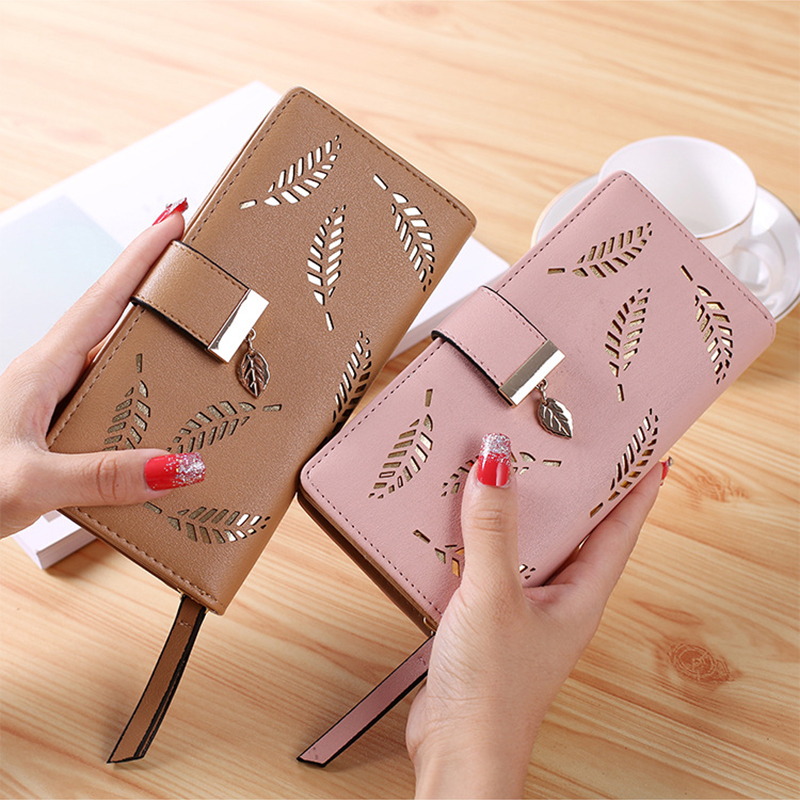 Women Wallet PU Leather Purse Female Long Wallet Gold Hollow Leaves Pouch Handbag For Women Coin Purse Card Holders Clutch
