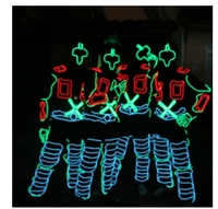 Party LED Tron Dance Stage Performance Costumes Clothing Costume Luminous Led EL Wire Dance Wear Fiber Optic Clothes