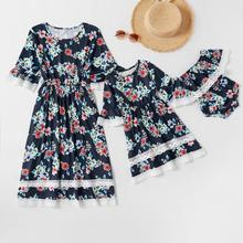 цена на Round neck floral print lace dress mommy and me clothes mom and daughter dress CHD20269