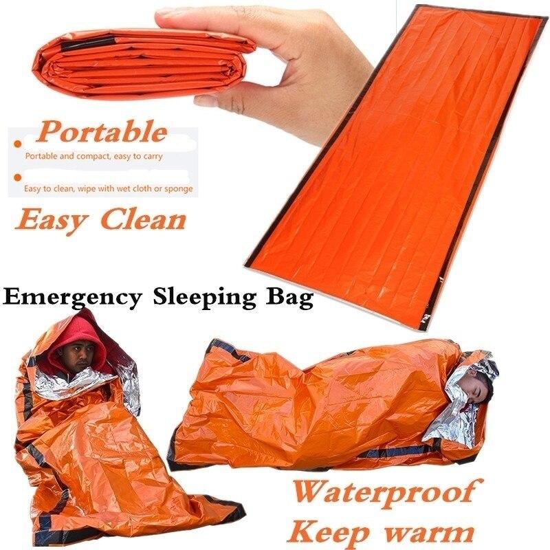 Sac de couchage thermique étanche d'urgence, couverture de survie pour camping, randonnées et activités de plein air 4