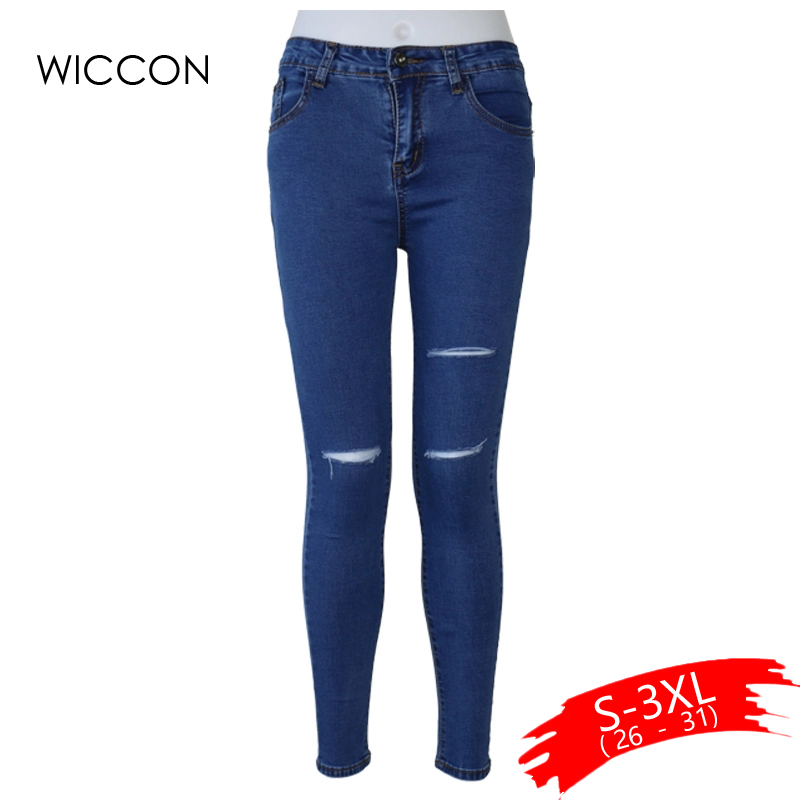 Slim Stretch ripped jeans for women Elasticity skin high waist jeans Women Pencil Denim Pants Jeans blue black hole jeans WICCON