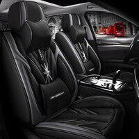 Full Coverage PU Leather car seat cover flax fiber auto seats covers for mitsubishi montero outlander 3 xl pajero 2 3 4 sport