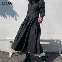 XITAO – robe décontractée, couleur unie, ample, à la mode, avec ourlet plissé, col carré, facile à assortir, nouvelle collection hiver, ZXR1370