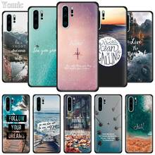 Travel Mountain Sea Beach Quotes Black Soft Case for Huawei P20 P30 P9 P10 Lite Pro P Smart Z Plus 2019 Silicone Phone Cover TPU king queen soft silicone phone back case for huawei p20 p30 p8 p9 p10 lite pro plus p smart tpu cover
