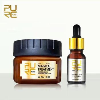 PURC Hair Care Treatment Set 1pcs 10ml Moroccan argan oil hair care treatment +1pcs 60ml keratin Hair Treatment Mask 11 11 purc brazilian keratin 12